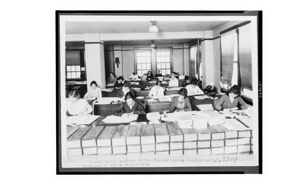 A very small section of the Census Bureau, Washington, D.C. - division of vital statistics, ca 1910-1930. Courtesy of the Library of Congress.